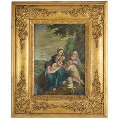 Painting the Holy Family Italian School, 17th Century