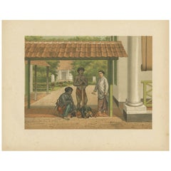 Antique Print of a Chicken Salesman in Batavia by M.T.H. Perelaer, 1888
