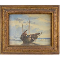 François Etienne Musin 19th Century Watercolor Drawing the Fishermen