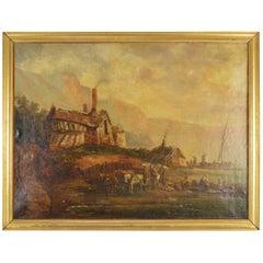 Village Scene Painting, Flemish School, 19th Century, Signed on the Verso Larue