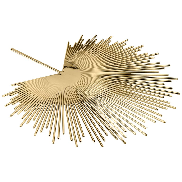 Ghidini 1961 Palm Tray in Polished Brass For Sale