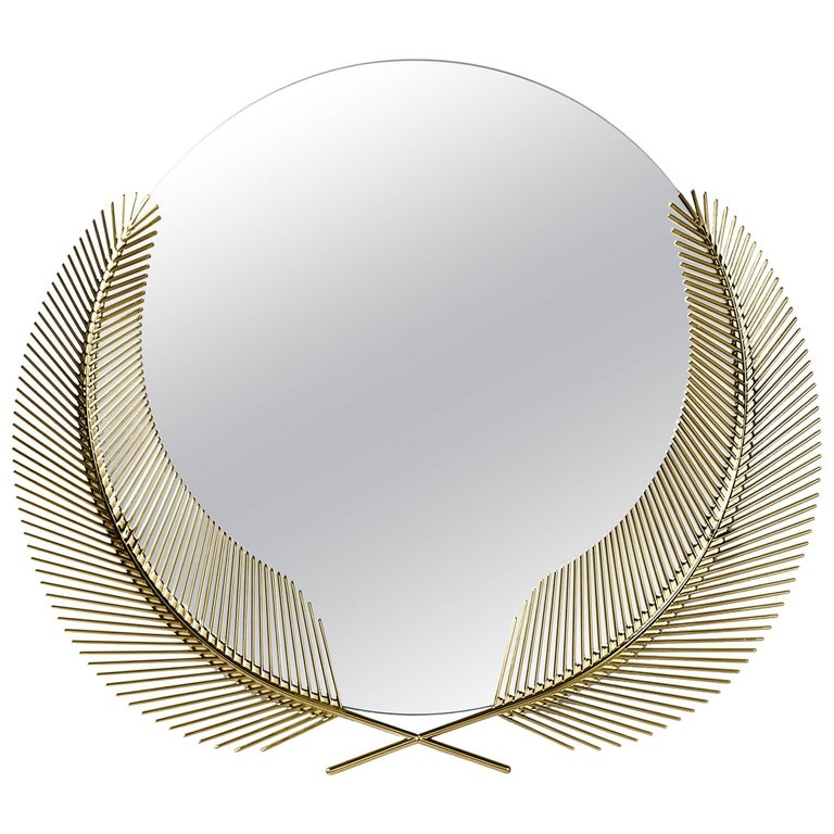 Ghidini 1961 Sunset Mirror Small in Polished Brass For Sale