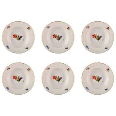 Royal Copenhagen Saxon Flower, Six Large Soup Dishes