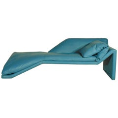 1984 Chaise Longue Turquoise Leather Miami Style Luigi Sormani Casabella Design