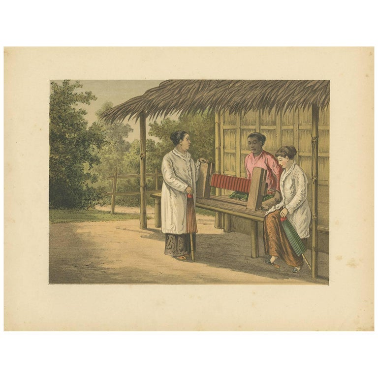 Antique Print of a Native Girl on Java by M T H  Perelaer, 1888
