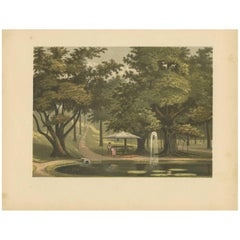Antique Print of a Fountain on Java by M.T.H. Perelaer, 1888