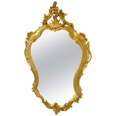 Antique Carved Wood French Mirror in Gold Leaf