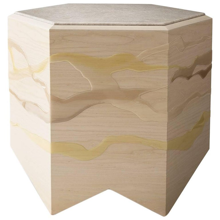 Drip/Fold Side Table, Ash Plywood with Lime Resin and Quartzite Top