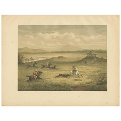 Antique Print of a Hunting Scene on Java by M.T.H. Perelaer, 1888