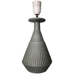 Sage Green Danish Modern Handmade Stoneware Lamp with Collar by Soholm, 1960s