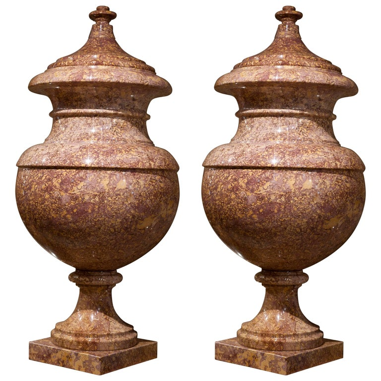21st Century Italian Baroque Marble Red Yellow Orange Pair of Vases Decorative