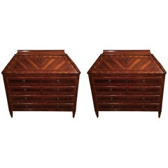 18th Century Pair of Italian Inlaid Palisander Chest of Drawer with Secretaire