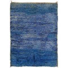 Mid-Century Modern Indigo Blue Moroccan Berber Beni Mguild Rug