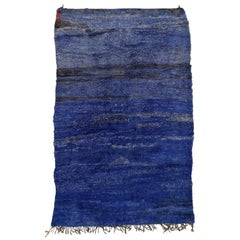 Rare Mid-Century Modern Monochrome Indigo Blue Moroccan Berber Beni Mguild Rug