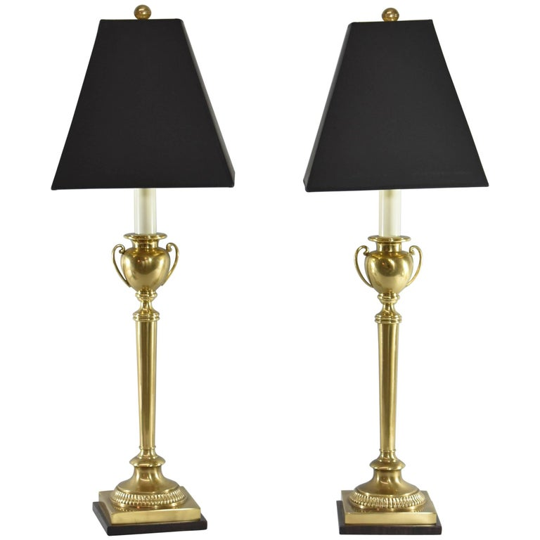 Pair of Frederick Cooper Brass Urn Form Table Lamps For Sale