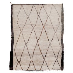 Mid-Century Modern Ivory Ground Square Moroccan Berber Rug