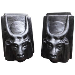 Pair of Bulls Head Egyptian Revival Sculptures of the God Apis