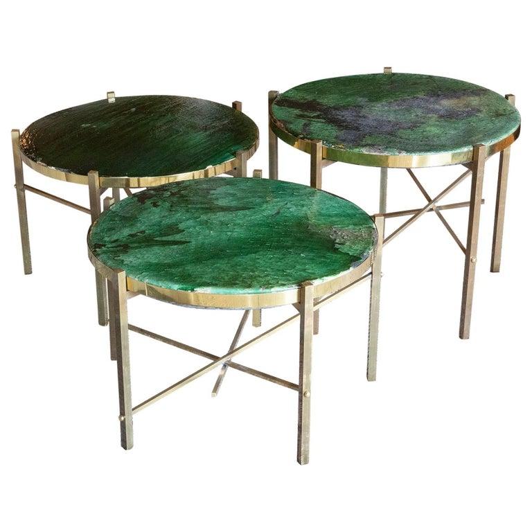 Set of Green Glazed Ceramic Coffee Tables