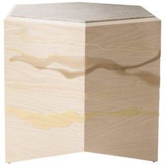 Custom Drip or Fold Side Table, Ash Plywood with Custom Resin and Top