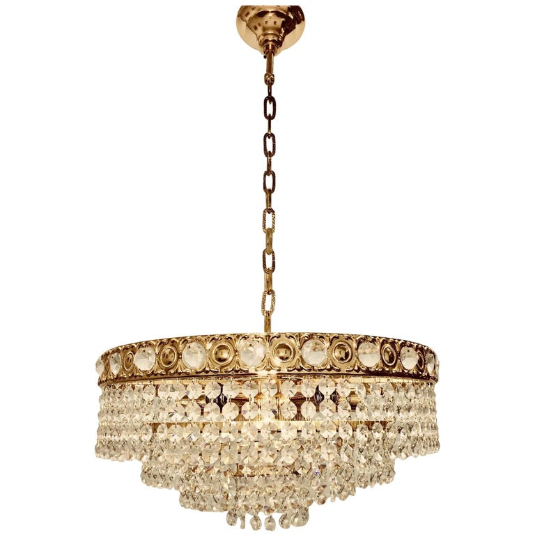 Crystal Waterfall Chandelier by Soelken Leuchten, Germany For Sale