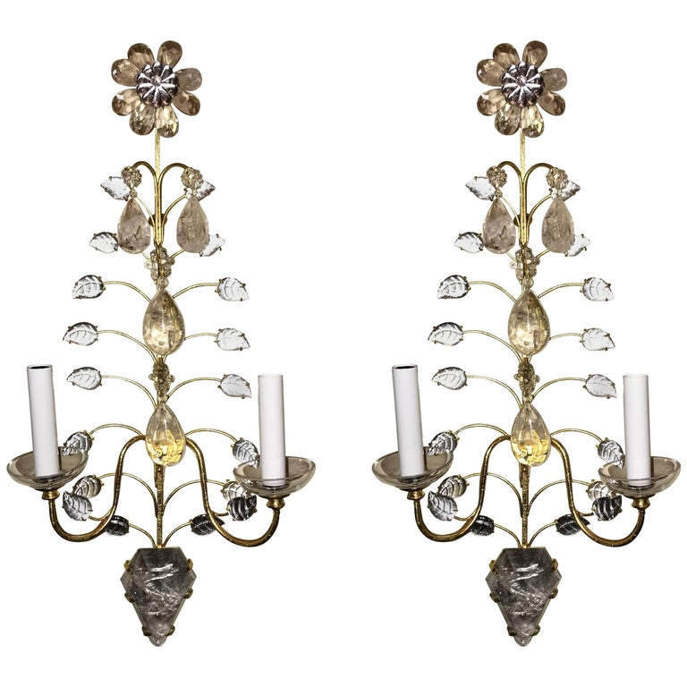 Mid-Century Modern Vintage Pair of Baguès Rock Crystal Gold Gilt Flower Sconces