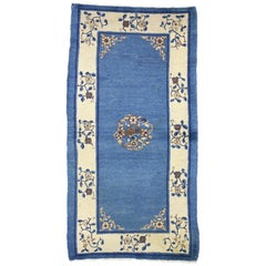 Antique Chinese Peking Accent Rug with Neoclassical Chinoiserie Style
