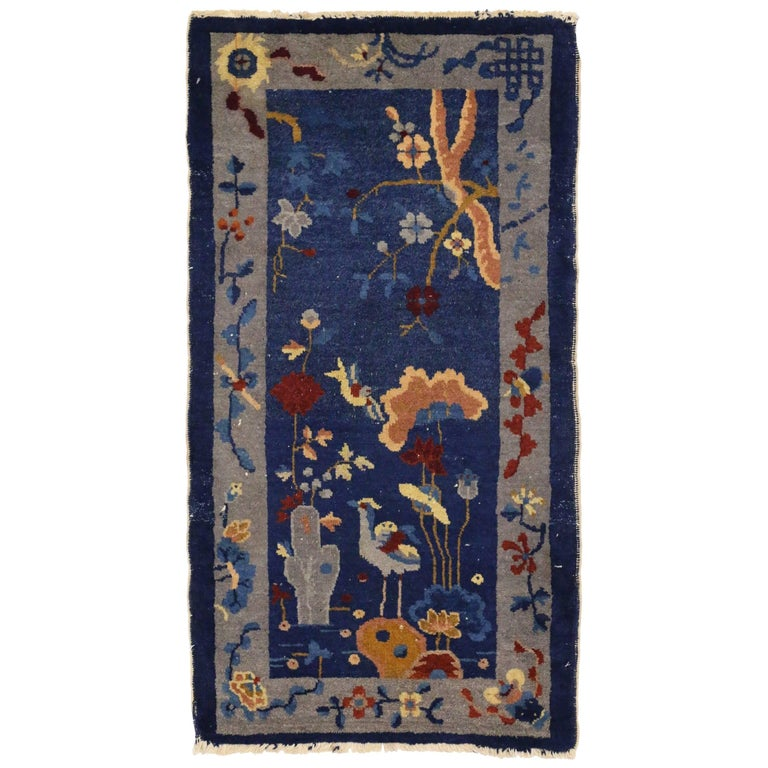 Early 20th Century Antique Chinese Art Deco Rug, Accent Rug