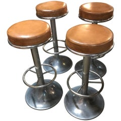Set of Four French Midcentury Bar Stools