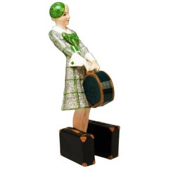 Goldscheider Vienna Figurine Lady Traveller Model 7064 Josef Lorenzl