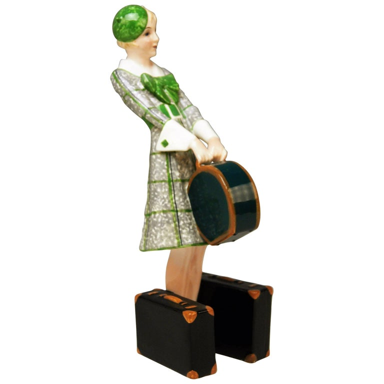 Goldscheider Vienna Figurine Lady Traveller Model 7064 Josef Lorenzl For Sale