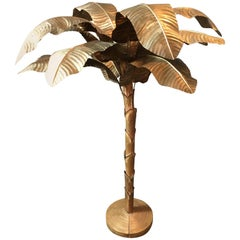 Huge Midcentury Brass and Copper Banana Palm Tree