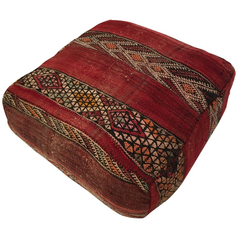 Moroccan Floor Pillow Tribal Seat Cushion Made from a Vintage Berber ...