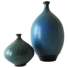 Steve Salisian Pair of California Studio Stoneware Vases