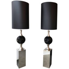 Pair of Chrome Floor Lamps by Philippe Barbier, France, 1970s