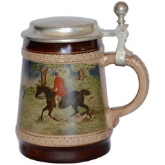 Midcentury Marzi and Remy German Beer Stein with Fox Hunting Scene