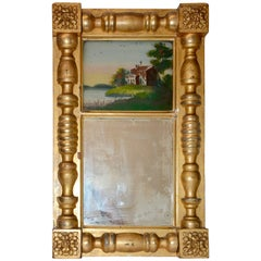 Early 20th Century Gold Gilded Mirror with Reverse Painting