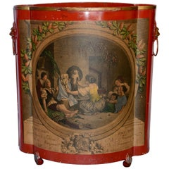 Midcentury Red Footed Tole Tin Waste Basket with Decoupage Print