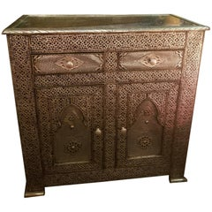 Metal Inlaid Moroccan Cabinet, Plenty of Storage
