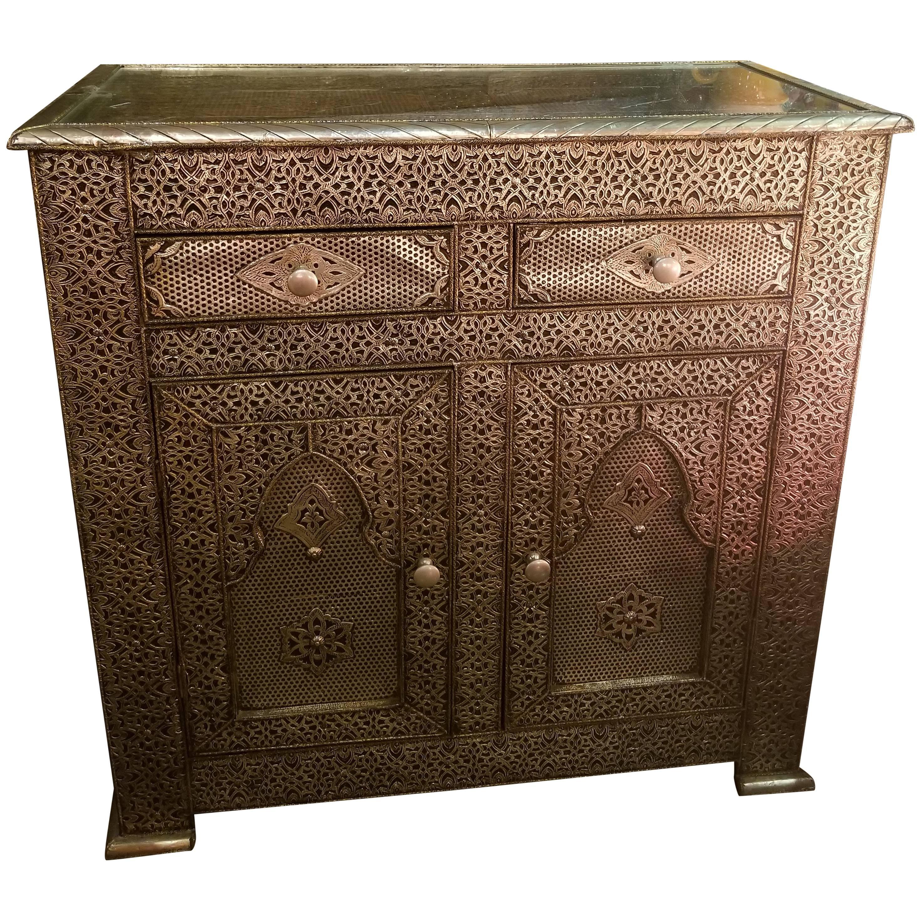 Ordinaire Metal Inlaid Moroccan Cabinet, Plenty Of Storage