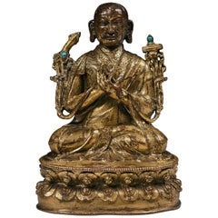 Tibetan 16th Century Gilt-Bronze and Hardstone Inlays Buddhist Lama Figure