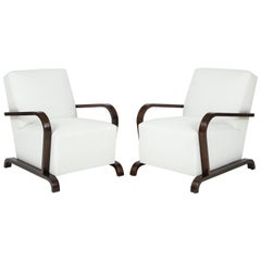 Pair of Early 20th Century French Art Deco Teakwood Armchairs