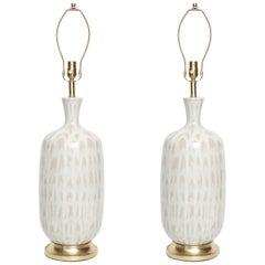Italian Tan and White Ceramic Lamps