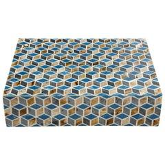 Blue, Brown Geometric Bone Inlay Box