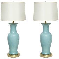 Paul Hanson Robins Egg Blue Porcelain Lamps