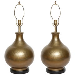 McGuire Hammered Bronze Lamps