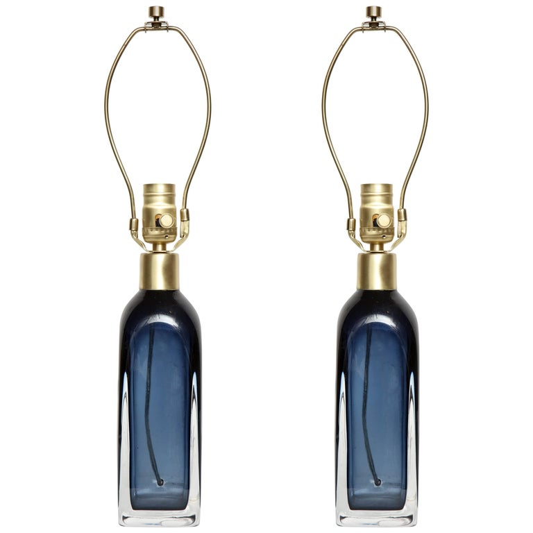 Orrefors Smoked Blue Crystal Lamps