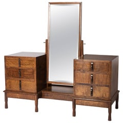 Gordon Russell Oak Dressing Table with Large Mirror, England, circa 1928