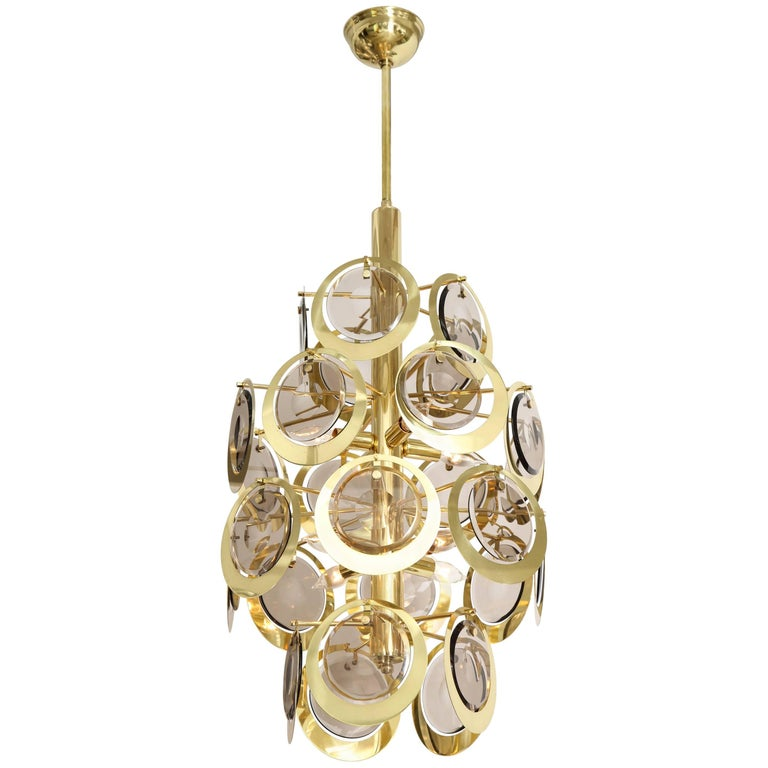 Vistosi Brass and Murano Glass Chandelier, circa 1970s For Sale