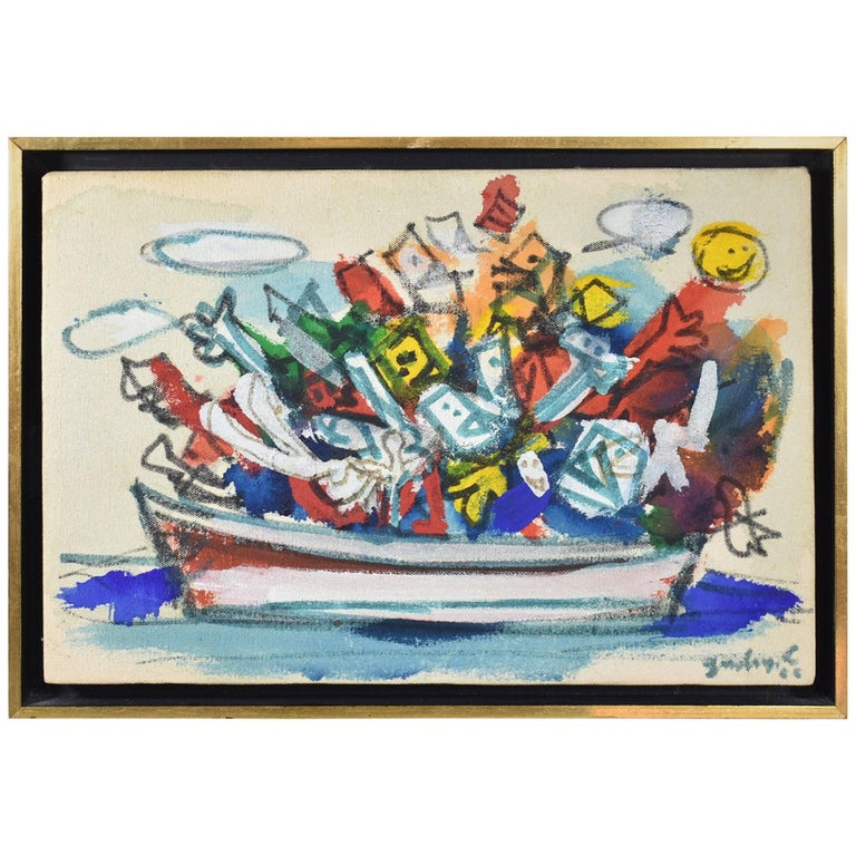 "Oil on Canvas, ""Happy Boat Trip L.N."" by Robert Goodnough, 1966 For Sale"