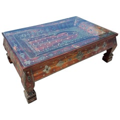 Moroccan Rectangular Metal Inlaid Coffee Table